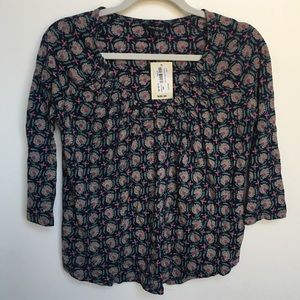 NWT Lucky Brand Patterned V-Neck Blouse